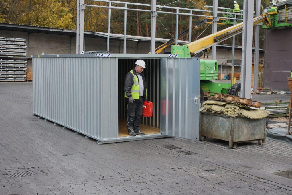 container for lagring på byggeplass
